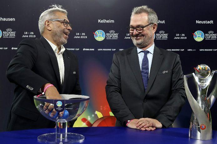 Auslosung UEFA Regions' Cup mit Botschafter Jimmy Hartwig