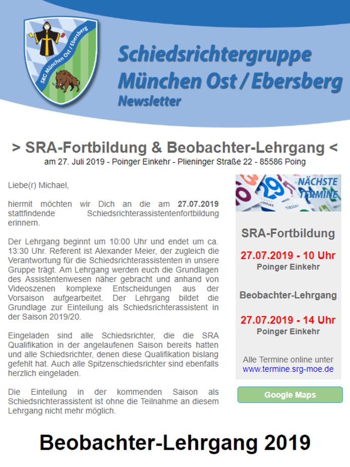 Newsletter der SRG-MOE