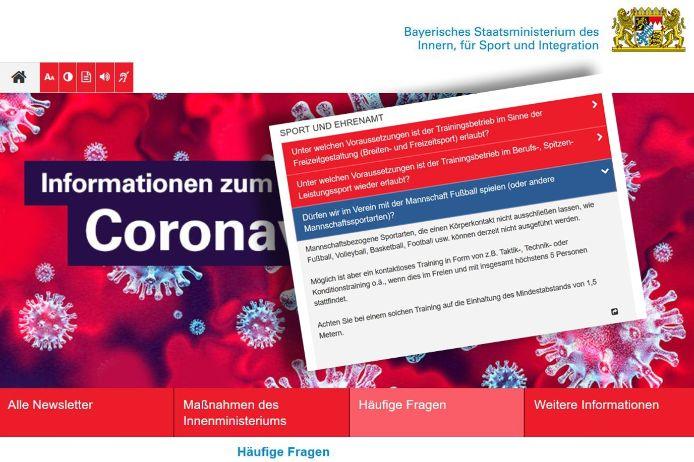 Das Bayerische Staatsministerium des Innern, für Sport und Integration informiert auf seiner Website über das eingeschränkte Vorgehen beim Training von mannschaftbezogenen Sportarten - darunter auch Fußball.