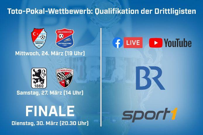 Alle drei Qualifikationspartien der Drittligisten werden live übertragen.