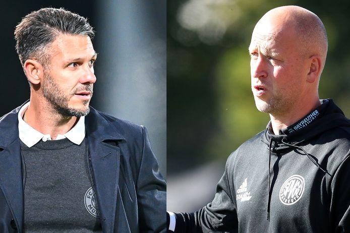 Trainer Martin Demichelis (FC Bayern München II) und Timo Rost (SpVgg Oberfranken Bayreuth)