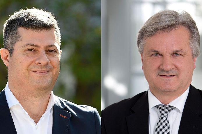 Porträt-Collage Vural Ünlü von der Türkischen Gemeinde Bayern und BFV-Vizepräsident Reinhold Baier