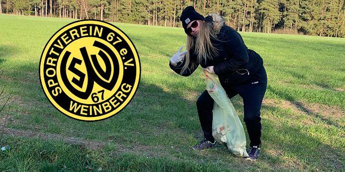 Die Fußballerinnen des SV Weinberg sammeln in der Corona-Krise Müll statt Punkte.